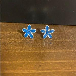 Kids Blue Flower Earrings